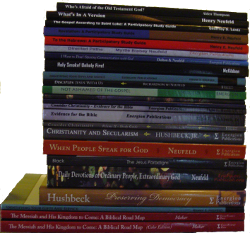 Books from Energion Publications in a stack.